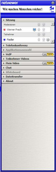 Sidebar - Steuerung der Online-Sitzung